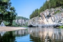 гребень по Юрюзани на Южном Урале